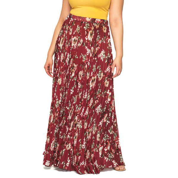 You Com-Pleat Me Burgundy Floral Maxi Skirt - Citi Trends Plus - Front