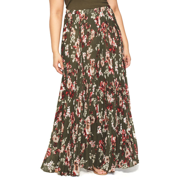 You Com-Pleat Me Olive Floral Maxi Skirt - Citi Trends Plus - Front