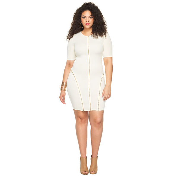 Zip It To The Curve Cream Bodycon - Citi Trends Plus - Front