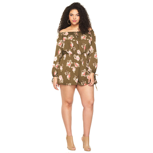 In Floral Treat Olive Off-The-Shoulder Romper