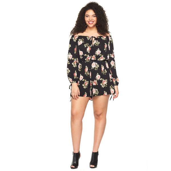 In Floral Treat Black Off-The-Shoulder Romper - Citi Trends Plus - Front