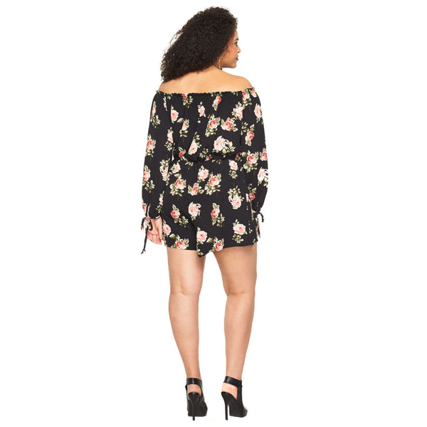 In Floral Treat Black Off-The-Shoulder Romper - Citi Trends Plus - Back