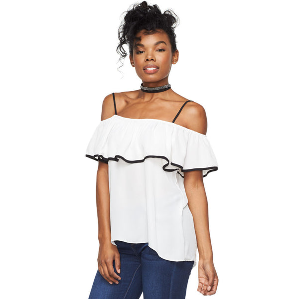Shoulder Shimmy Ruffle Top - Citi Trends Juniors - Front