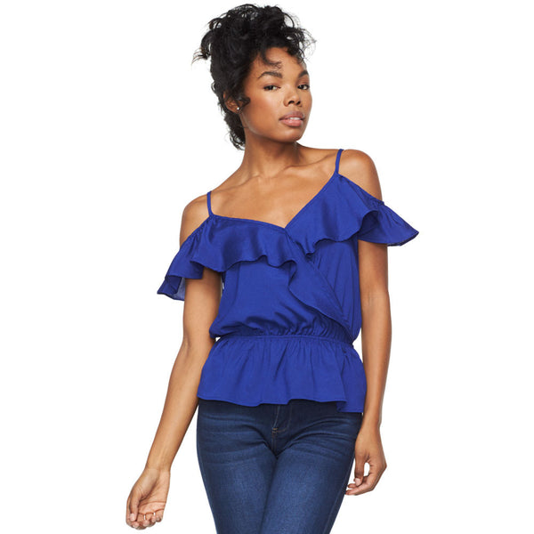 Frillin Fabulous Royal Blue Off-The-Shoulder Top - Citi Trends Ladies - Front