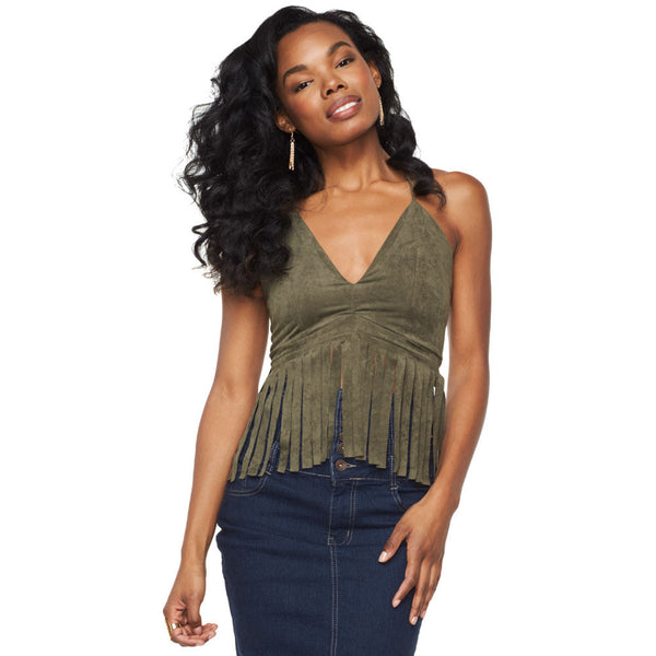 Major Fringe Olive Racerback Tank - Citi Trends Ladies - Front