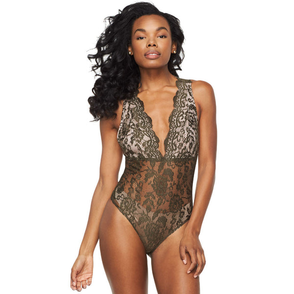 Scalloped Sweetheart Olive Lace Bodysuit - Citi Trends Ladies - Front