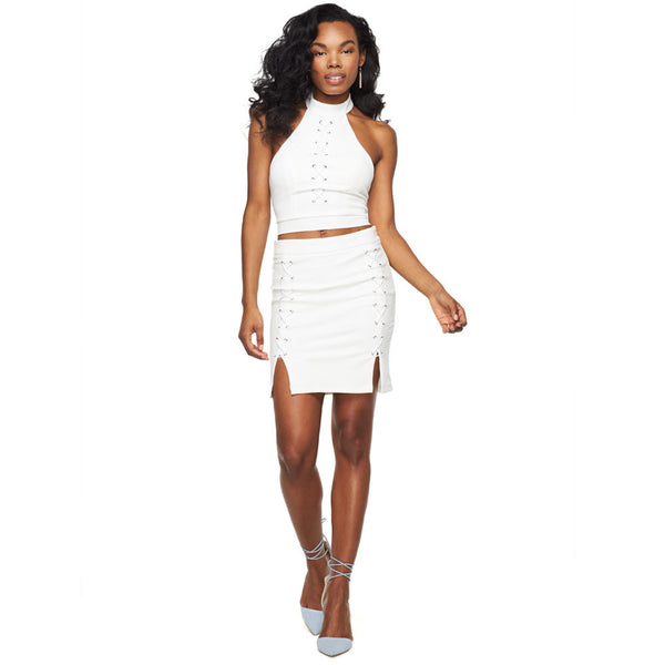 Lady Of Lace White 2-Piece Lace-Up Skirt Set - Citi Trends Ladies - Front