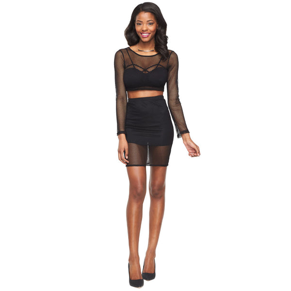 Flirty In Fishnets Black Crop Top And Skirt Set - Citi Trends Ladies - Front