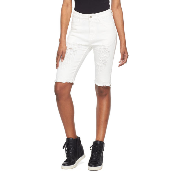 Short And Sweet White Denim Frayed Hem Bermuda Short - Citi Trends Ladies - Front