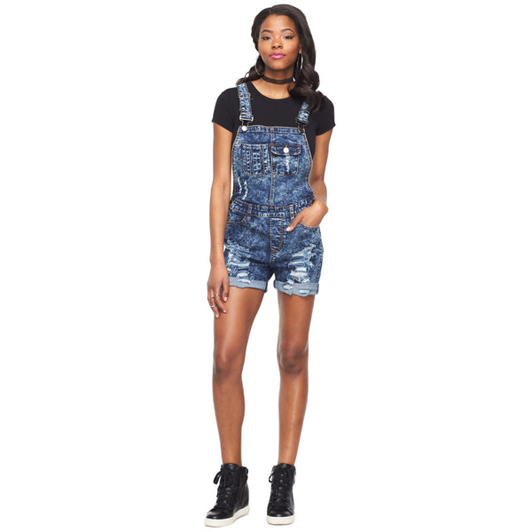 So Over Winter Distressed Denim Overall Shorts - Citi Trends Ladies - Front