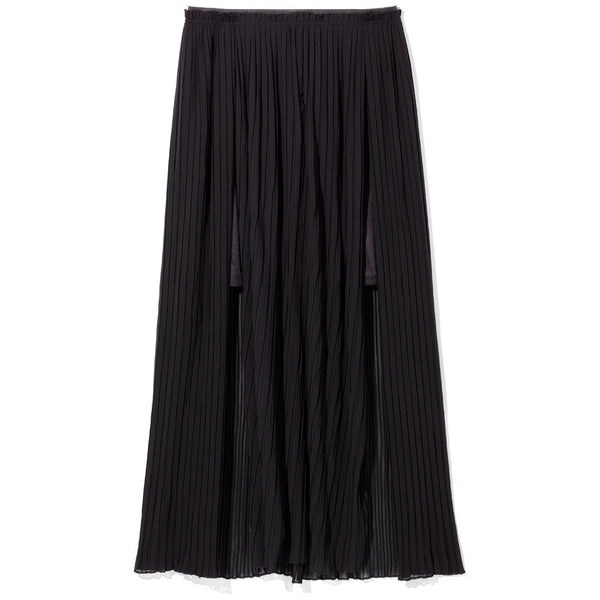 Pleated Party Plus Size Black Maxi Skirt With Front Slits - Citi Trends Plus - Front