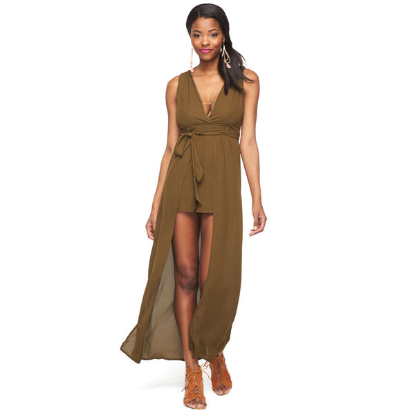 Plunge Into Spring Olive Maxi Romper - Citi Trends Ladies - Front