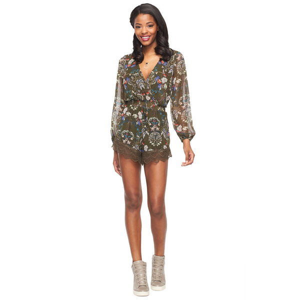 Paisley Perfection Olive Lace Trim Romper - Citi Trends Ladies - Front