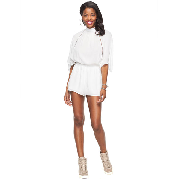 Flutter Yourself White Mock Neck Romper With Ladder Trim - Citi Trends Ladies - Front