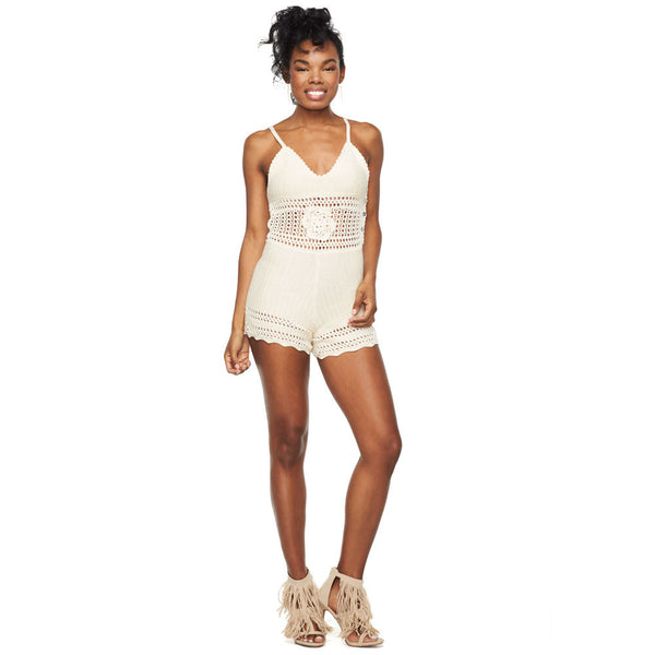 Vacation Vibes Ivory Crochet Romper - Citi Trends Ladies - Front