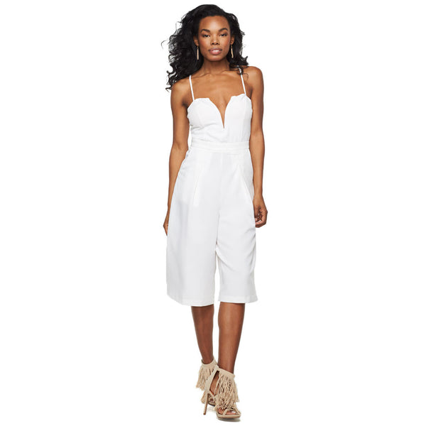 Cute Culotte White V-Neck Jumpsuit - Citi Trends Ladies - Front