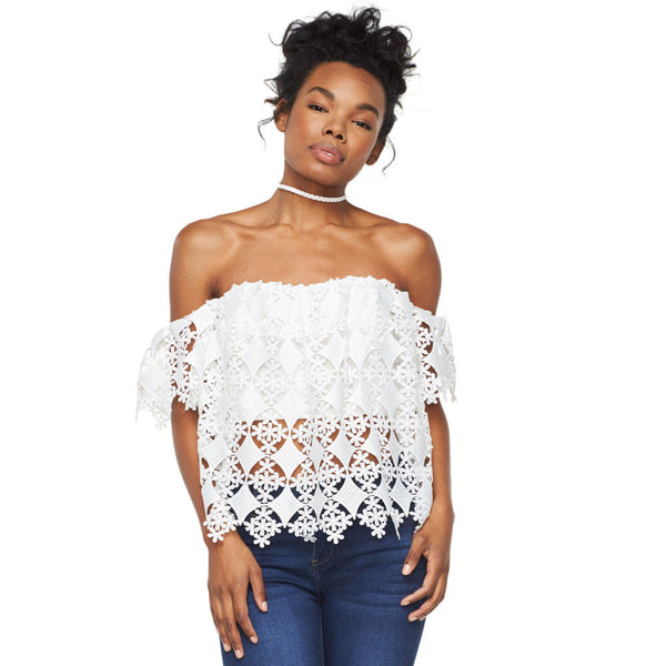 Crochet Chic White Off-The-Shoulder Crop Top - Citi Trends Ladies - Front