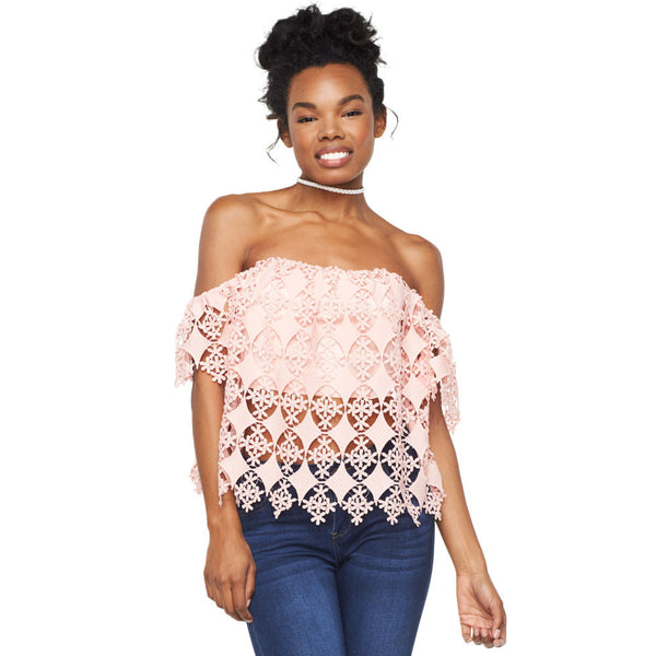 Crochet Chic Blush Off-The-Shoulder Crop Top - Citi Trends Ladies - Front