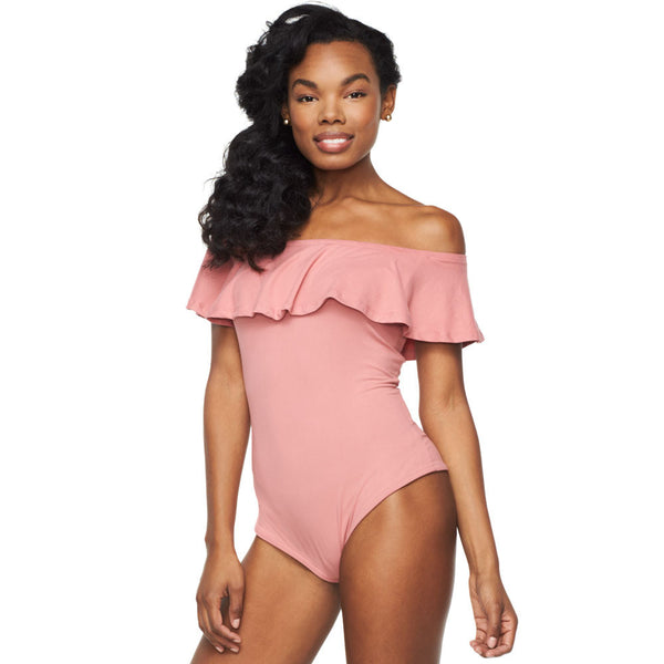 Everyday I'm Ruffln' Dusty Pink Off-The-Shoulder Bodysuit - Citi Trends Ladies - Front