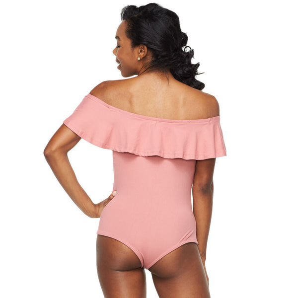 Everyday I'm Ruffln' Dusty Pink Off-The-Shoulder Bodysuit - Citi Trends Ladies - Back