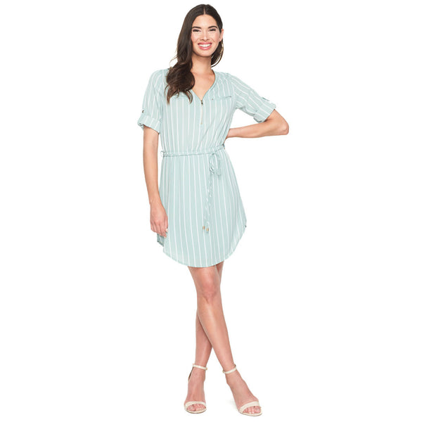 Between The Lines Sage/White Shirt Dress - Citi Trends Ladies - Front