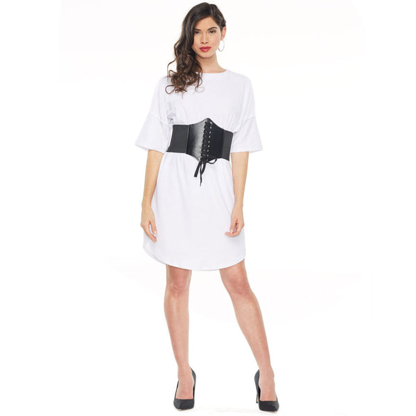 Work It White French Terry T-Shirt Dress With Corset - Citi Trends Ladies - Front