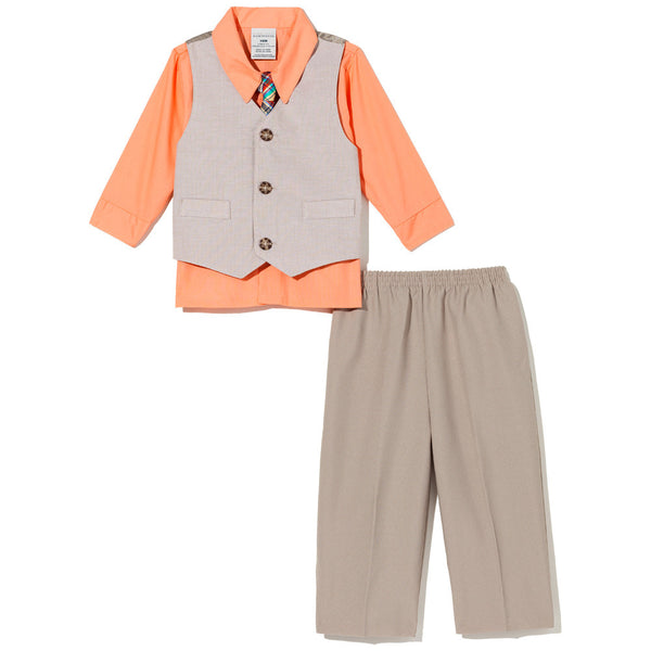 Suit Yourself Boys Khaki 4-Piece Vest Set - Citi Trends Boys - Front
