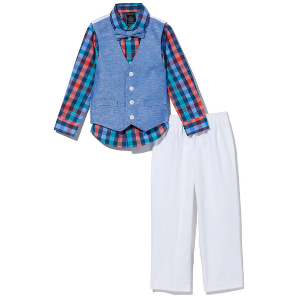 Dapper In The Mix Boys 4-Piece Chambray Vest Set - Citi Trends Boys - Front