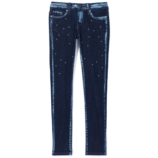 Pearl Power Girls Dark Blue Studded Skinny Jean - Citi Trends Girls - Front