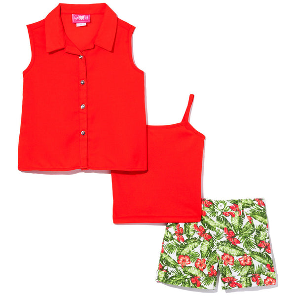 Trendy In The Tropics Girls Red 3-Piece Short Set - Citi Trends Girls - Front