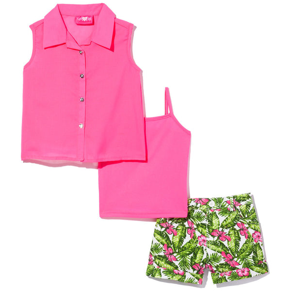 Trendy In The Tropics Girls Fuchsia 3-Piece Short Set - Citi Trends Girls - Front