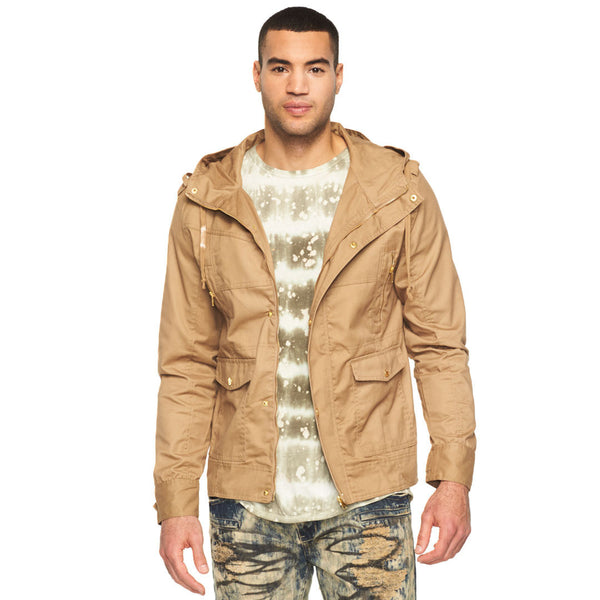 In Your Element Khaki Fishtail-Hem Hooded Anorak Jacket - Citi Trends Mens - Front