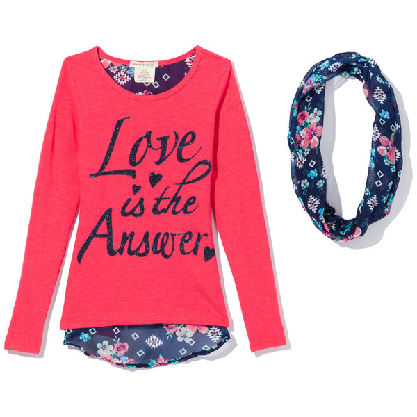 Love Is The Answer Girls 2-Piece Coral Graphic Tee Set - Cititrends Girls - Front