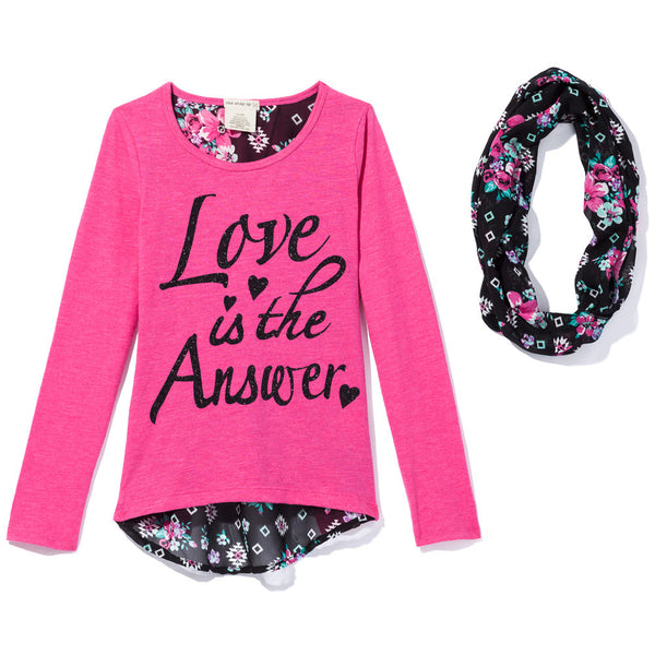 Love Is The Answer Girls 2-Piece Pink Graphic Tee Set - Cititrends Girls - Front