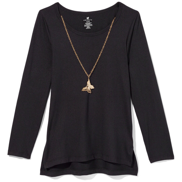 One Step Up Girls Black Necklace Top - Cititrends Girls - Front