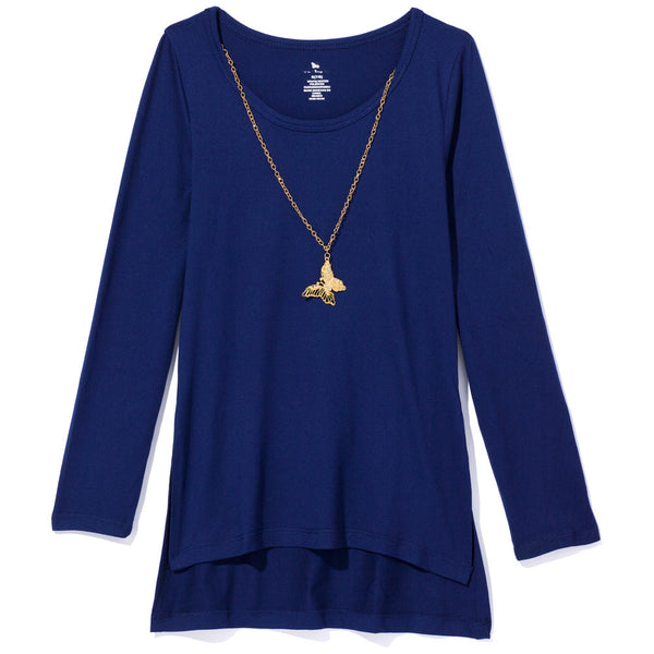One Step Up Girls Blue Necklace Top - Cititrends Girls - Front