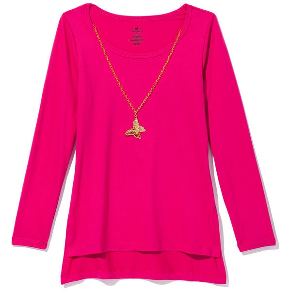 One Step Up Girls Pink Necklace Top - Cititrends Girls - Front