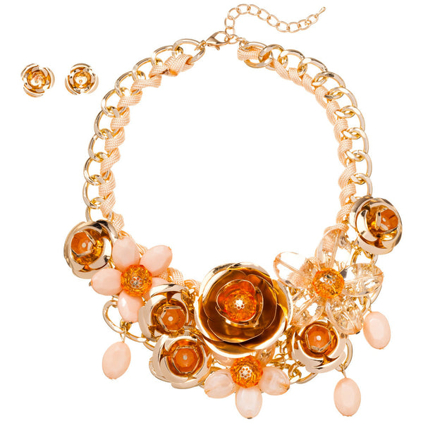 Petal Party Gold Rose Necklace And Earring Set - Citi Trends Accessories - Front