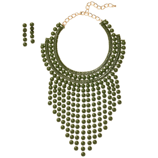 Beaded Beauty Olive Statement Necklace And Earring Set - Citi Trends Accessories - Front