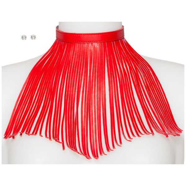 Major Drama Red Faux Leather Fringe Choker And Earring Set - Citi Trends Accessories - Front