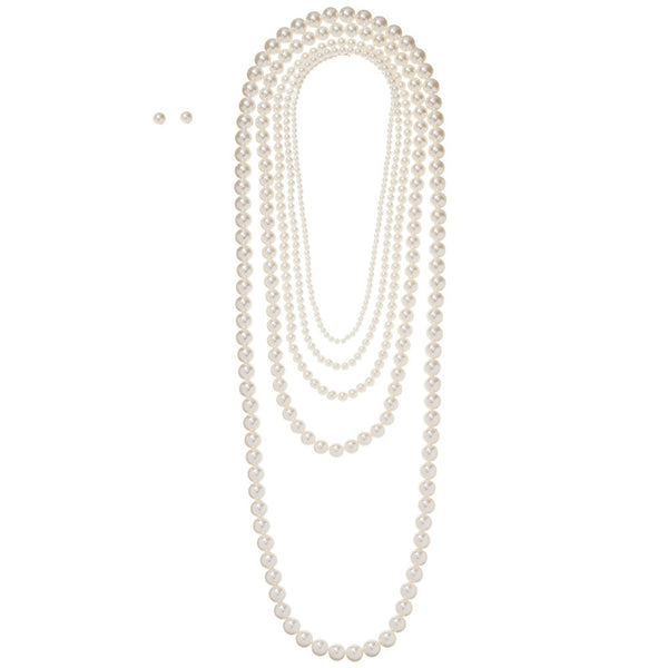 Pearly White Layered Necklace And Earring Set - Citi Trends Accessories - Front