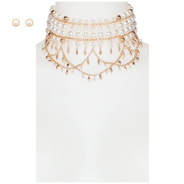 Layered In Pearls Choker And Earring Set - Citi Trends Accessories - Front