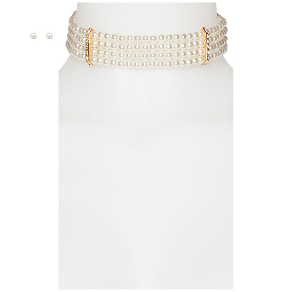 Layer It On Pearl Choker And Earring Set - Citi Trends Accessories - Front