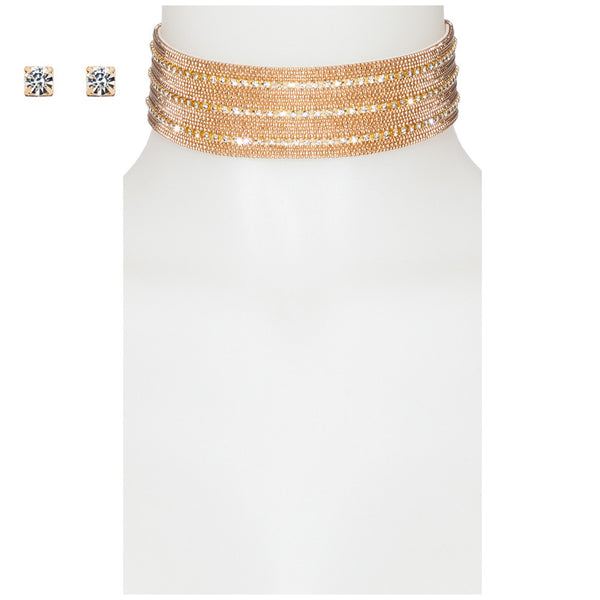 Metal Magic Gold Stone Choker And Earring Set - Citi Trends Accessories - Front