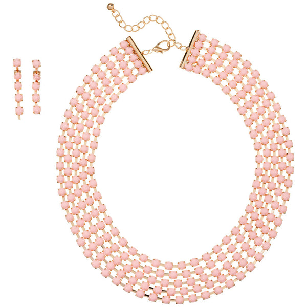 Glistening Around Pink Layered Bead Necklace And Earring Set - Citi Trends Accessories - Front