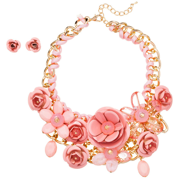 Petal Party Pink Rose Necklace And Earring Set - Citi Trends Accessories - Front