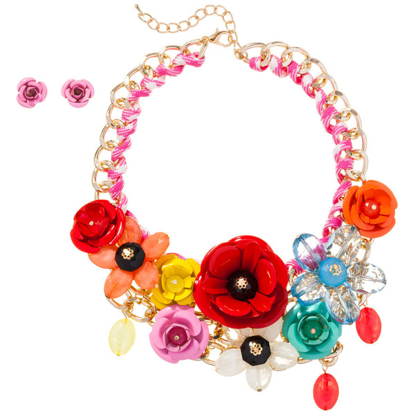 Petal Party Multi Color Rose Necklace And Earring Set - Citi Trends Accessories - Front