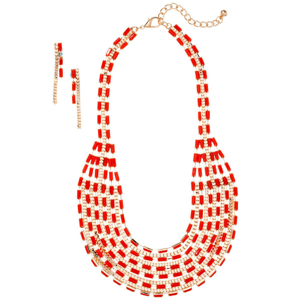 Layered And Luxe Red Beaded Necklace And Earring Set - Citi Trends Accessories - Front