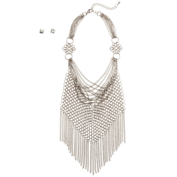 In The Mesh Silver Chain Statement Necklace And Earring Set - Citi Trends Accessories - Front