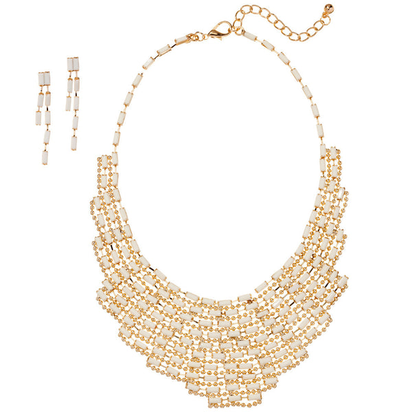 Make A Statement White Beaded Necklace And Earring Set - Citi Trends Accessories - Front